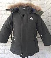 Копия Зимняя детская куртка на мальчика, теплая, модная, мех- натуральный 3,4,5,6,7 лет. Цвет хаки . Не дорого