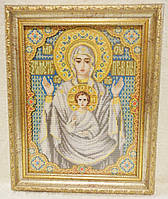 Икона «Знамение» ручной работы вышитая крестом