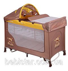 Кровать-манеж с укачиванием бежевый Lorelli SAN REMO ROCKER 2L BEIGE&YELLOW HAPPY FAMILY