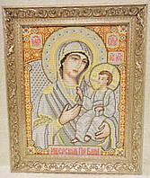 Икона «Иверская» («Вратарница») ручной работы вышитая крестом