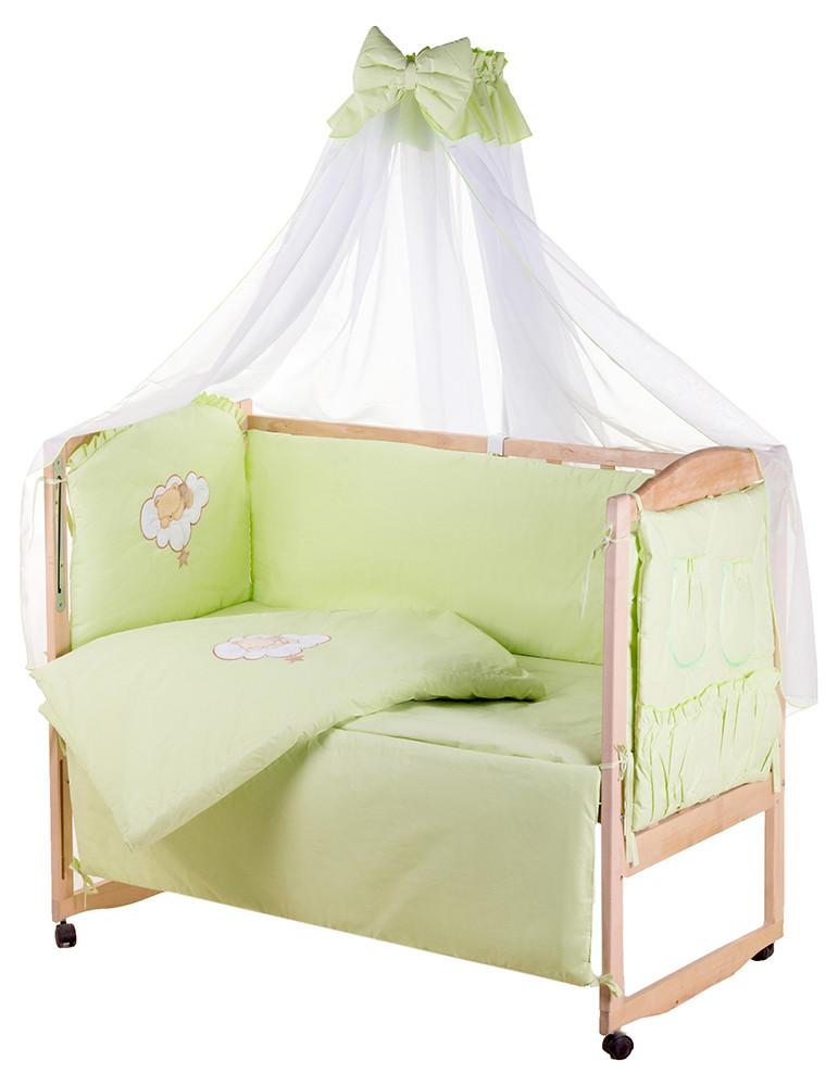 Детская постель Qvatro Gold AG-08 апликация  салатовый (мишка спит на облаке)