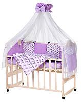 Детская постель Babyroom Bortiki lux-08 bird сиреневый - белый, фото 1