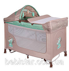 Кровать-манеж с укачиванием бежево-зеленый Lorelli SAN REMO ROCKER 2L BEIGE&GREEN SLEEPING BEAR