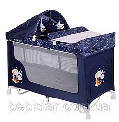 Кровать-манеж с укачиванием синий Lorelli SAN REMO ROCKER 2L BLUE GOOD NIGHT BEAR