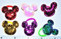 """Детские резиночки для волос  - """"Микки с паетками"""" (24 шт), фото 1"""
