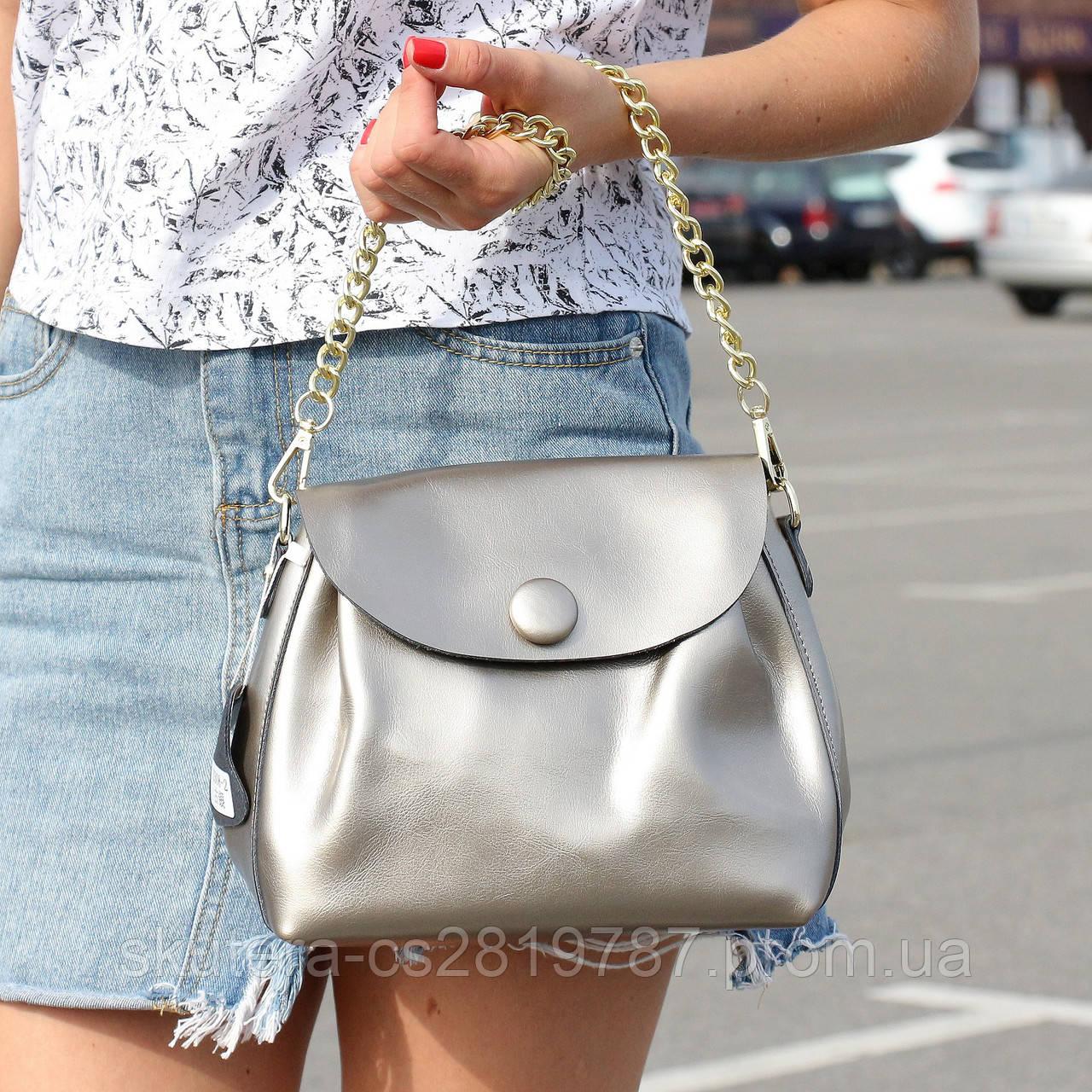 """Женская кожаная сумка """"Пуговка 3 Silver"""", фото 1"""