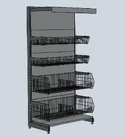Стеллажи WIKO с корзинными полками для магазина. Стеллаж торговый с корзинами. Торговое оборудование, фото 1
