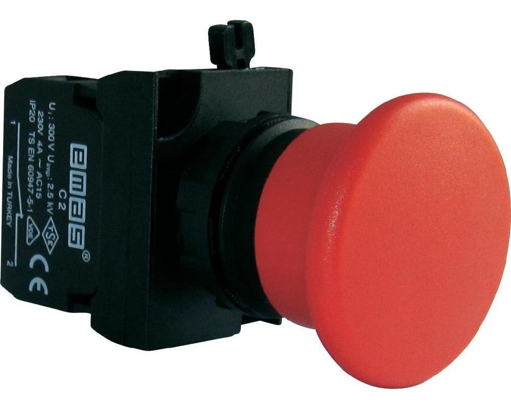 "Кнопка ""грибок"" аварийная d=40мм без фиксации (1НЗ) - пластик IP65"