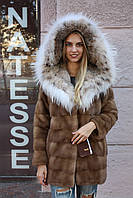 Шуба из норки с отделкой из рыси Hooded mink fur coat fur-coat with Canadian lynx collar