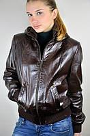 Кожаная куртка, бомбер, с отстегивающимся капюшоном
