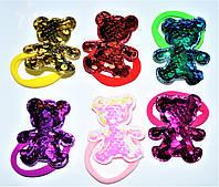 """Детские резиночки для волос  - """"Мишка с паетками"""" (24 шт)"""