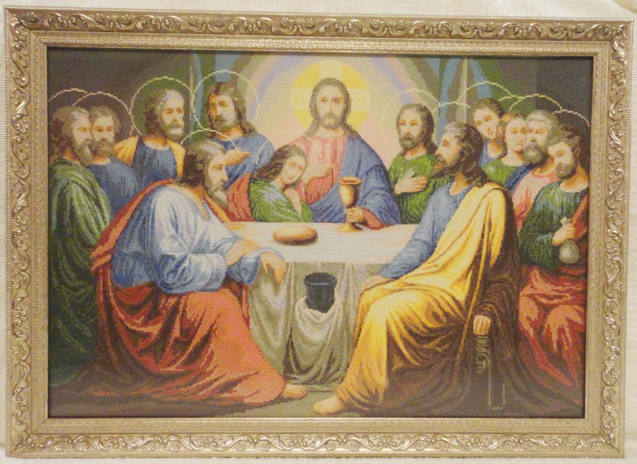 Икона «Тайная вечеря» ручной работы вышитая крестом