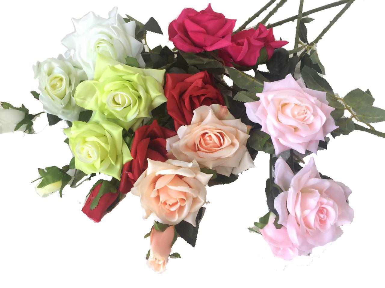 Искусственная роза раскрытая , 3 цветка