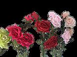Искусственная роза раскрытая , 3 цветка , фото 4