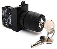 Кнопка з ключём 0-1 ключ вынимается в положениях 0 и 1 (1НО) IP65