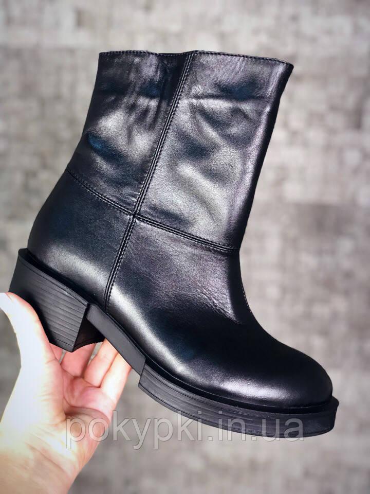 10524fc54 Модные демисезонные женские ботинки натуральная кожа черные -