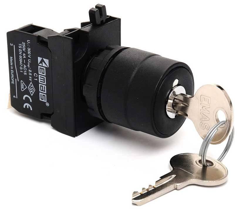 Кнопка с ключём 2-0-1 ключ вынимается в положении 0 (1НО+1НЗ) IP65