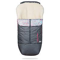 Зимний детский конверт на овчине Trend серый с розовым декором, 100 % овечья шерсть, фото 1