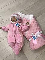 """Зимний Набор на выписку для новорожденного """"Фантазия"""" (розовый) , фото 1"""