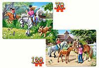 Кастор Castorland пазлы на 2в1 Верховая езда 32*23