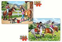 Кастор Castorland пазлы на 2в1 Прогулки на лошадках 32*23