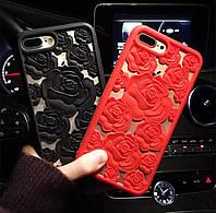 Чехол 3D Rose на телефон Iphone 7 Plus женский силиконовый чохол для айфона 7 плюс ТПУ розы