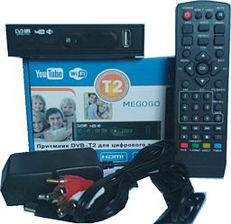 Тюнер Т2 приставка Terrestrial DVB-T2 FTA в пластике, дисплей,кнопки,1USB, блок питания 12В