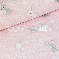 ✁ Отрезы польской бязи Кролики на розовом, фото 1