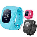 Детские часы-телефон Q50 с GPS, SOS, просушка, будильник, шагомер, GPS+LBS+Wi-Fi. Голубые, фото 2