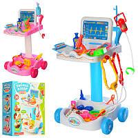 Большой Игровой набор Доктор тележка,инструменты, микроскоп, в коробке49-35-15см,606-1-5