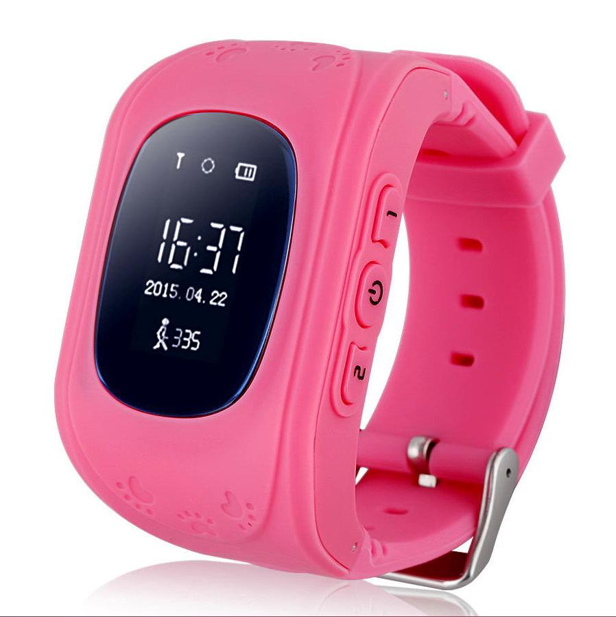 Детские часы-телефон Q50 с GPS, SOS, просушка, будильник, шагомер, GPS+LBS+Wi-Fi. Розовые