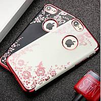 Гламурный чехол на Iphone 7 Plus стрази камушки силикон для айфона золотой ТПУ цвети