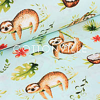 Хлопковая ткань Ленивцы мята, фото 1