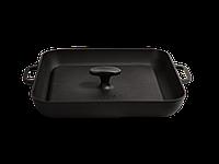 Сковорода-гриль квадратная с прессом 28х28х4см и литыми ручками чугунная Ситон