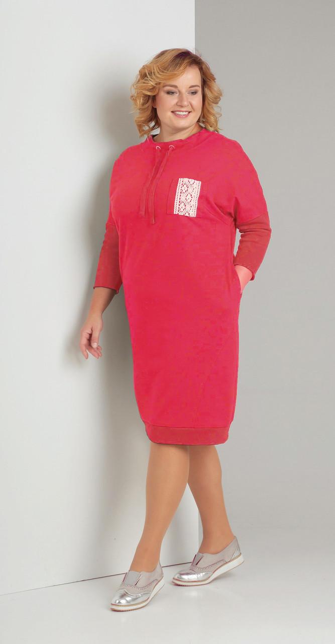 Платье Диамант-1346 белорусский трикотаж, красный, 52