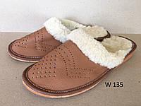 Тапочки кожаные коричневые женские с мехом, фото 1