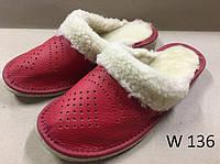 Тапочки кожаные женские с мехом красные, фото 1