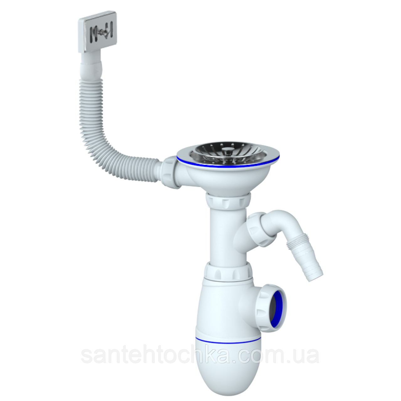Сифон для мийки ф115 з вих. до пральн.машини та прямокутним виливом UNICORN 35шт