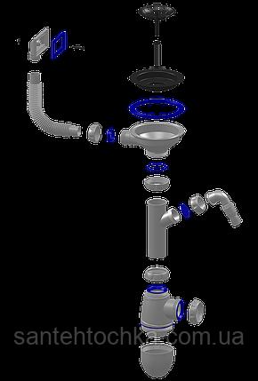 Сифон для мийки ф115 з вих. до пральн.машини та прямокутним виливом UNICORN 35шт, фото 2