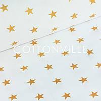 Польская бязь Золотые звездочки на белом, фото 1