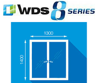 Металлопластиковое окно, размер 1300 х 1400мм, WDS 8 series