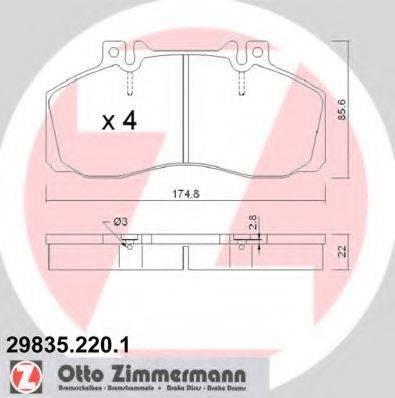 Комплект тормозных колодок, дисковый тормоз ZIMMERMANN 298352201 на MERCEDES-BENZ T2/LN1 фургон/универсал