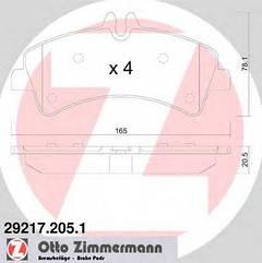Комплект тормозных колодок, дисковый тормоз ZIMMERMANN 292172051 на VW CRAFTER 30-35 автобус (2E_)