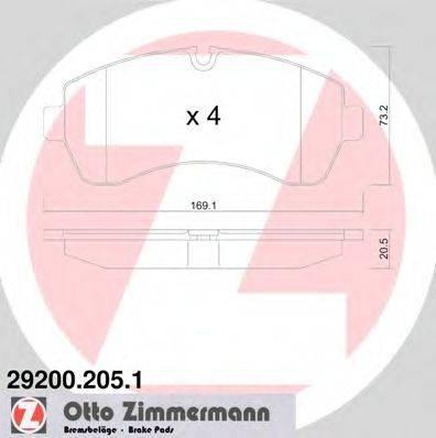 Комплект тормозных колодок, дисковый тормоз ZIMMERMANN 292002051 на VW CRAFTER 30-35 автобус (2E_)