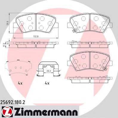 Комплект тормозных колодок, дисковый тормоз ZIMMERMANN 256921802 на HYUNDAI ELANTRA GT (GD)