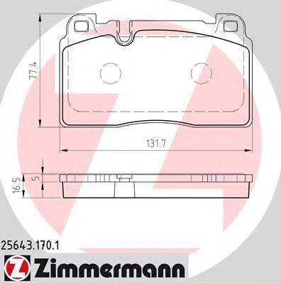 Комплект тормозных колодок, дисковый тормоз ZIMMERMANN 256431701 на AUDI Q5 (8R)