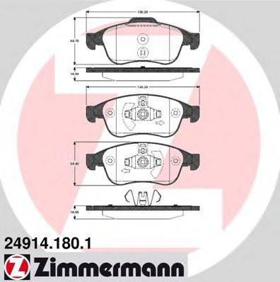 Комплект тормозных колодок, дисковый тормоз ZIMMERMANN 249141801 на RENAULT MEGANE CC (EZ0/1_)