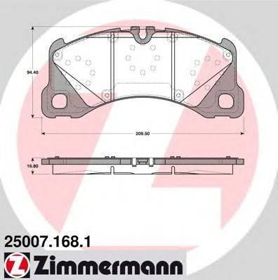 Комплект тормозных колодок, дисковый тормоз ZIMMERMANN 250071681 на PORSCHE PANAMERA