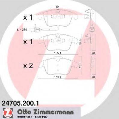 Комплект тормозных колодок, дисковый тормоз ZIMMERMANN 247052001 на AUDI A5 (8T3)