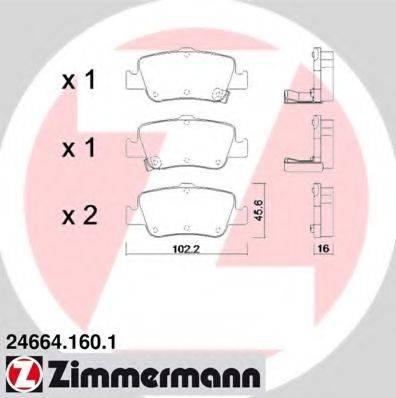 Комплект тормозных колодок, дисковый тормоз ZIMMERMANN 246641601 на TOYOTA BLADE (NRE15_, ZZE15_, ADE15_, ZRE15_, NDE15_)